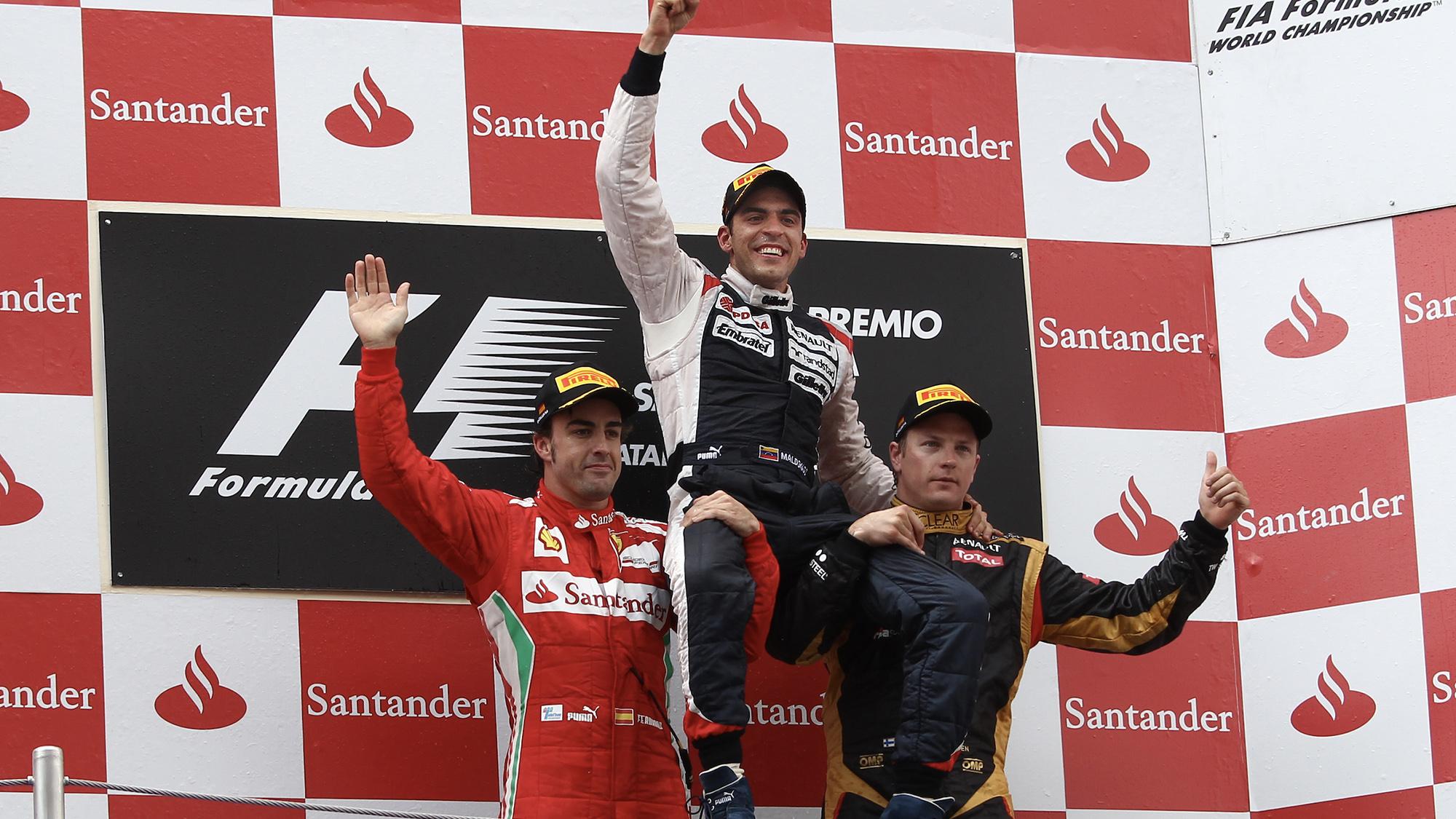 Pastor Maldonado celebrates victory in the 2012 F1 Spanish Grand Prix