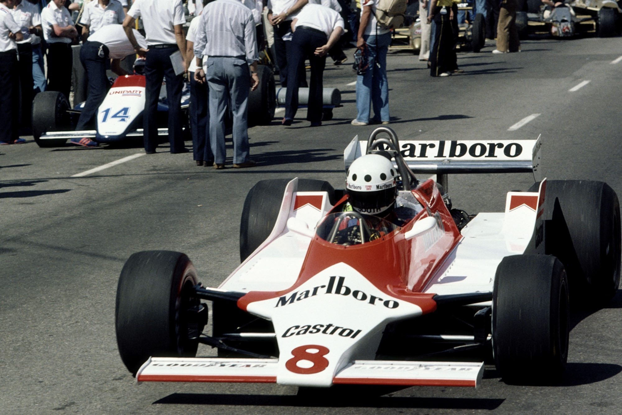 Stephen South drives the #8 Marlboro Team McLaren Ford M29C out of the pit lane during practice for the United States Grand Prix West on 29 March 1980 at Long Beach street circuit in Long Beach, California, United States. (Photo by Steve Powell/Getty Images)
