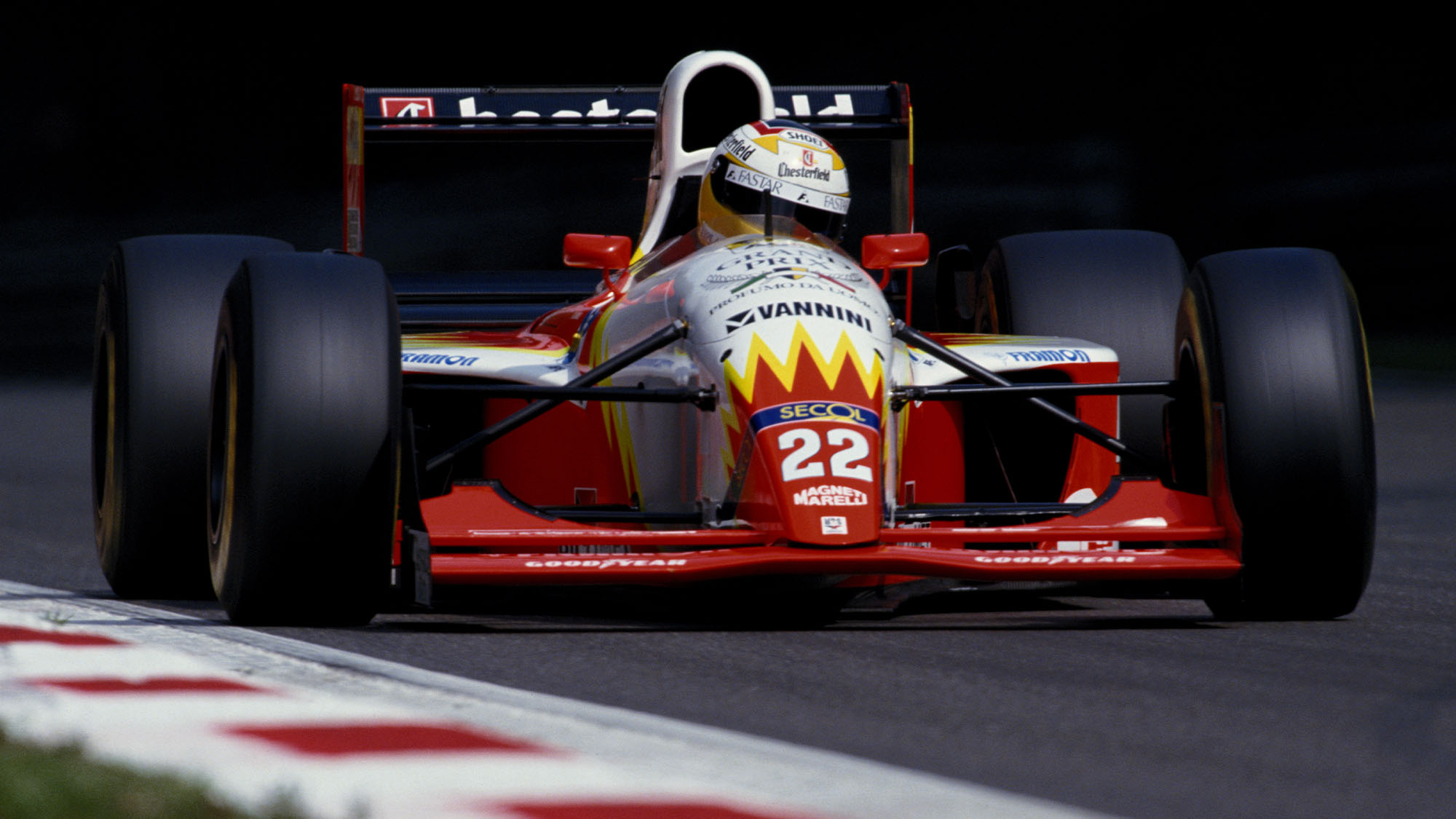 Luca Badoer drives the #22 Lola BMS Scuderia Italia Lola T93/30 Ferrari 3500 during the Italian Grand Prix on 12th September 1993 at the Autodromo Nazionale Monza near Monza, Italy.(Photo by Pascal Rondeau/Getty Images)