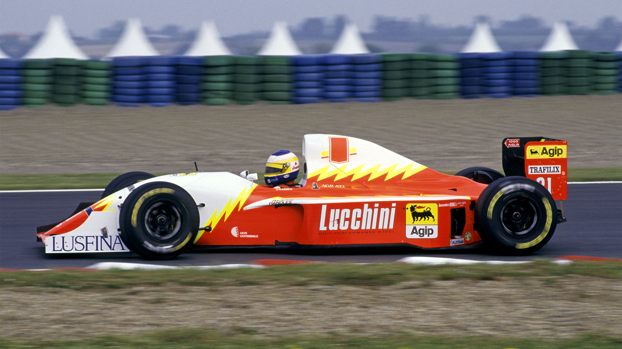 1993 Michele Alboreto driving a Lola T93/30 at Magny-Cours, French GP. (Photo by: GP Library/Universal Images Group via Getty Images)