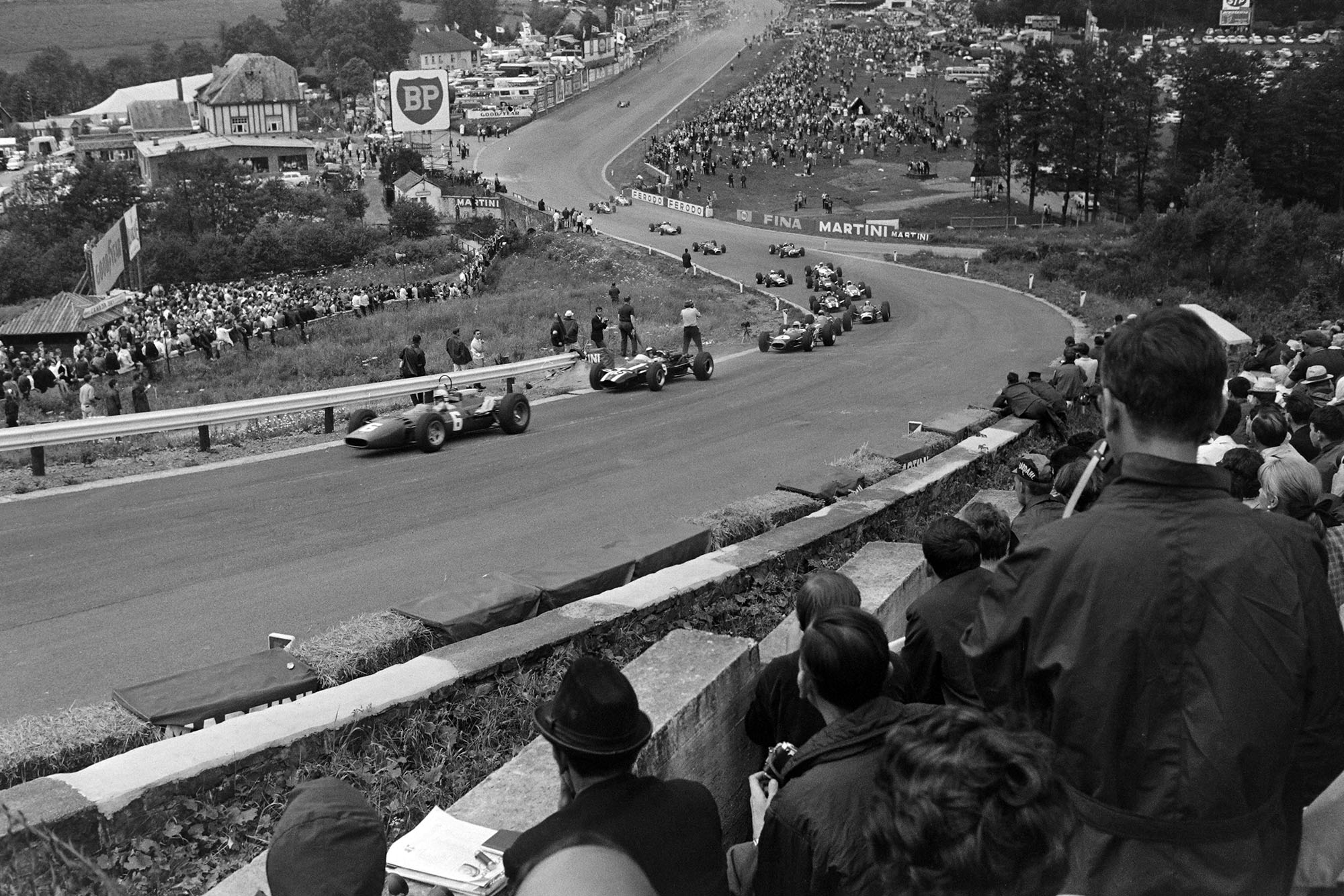 Surtees heads the field up into Eau Rouge.