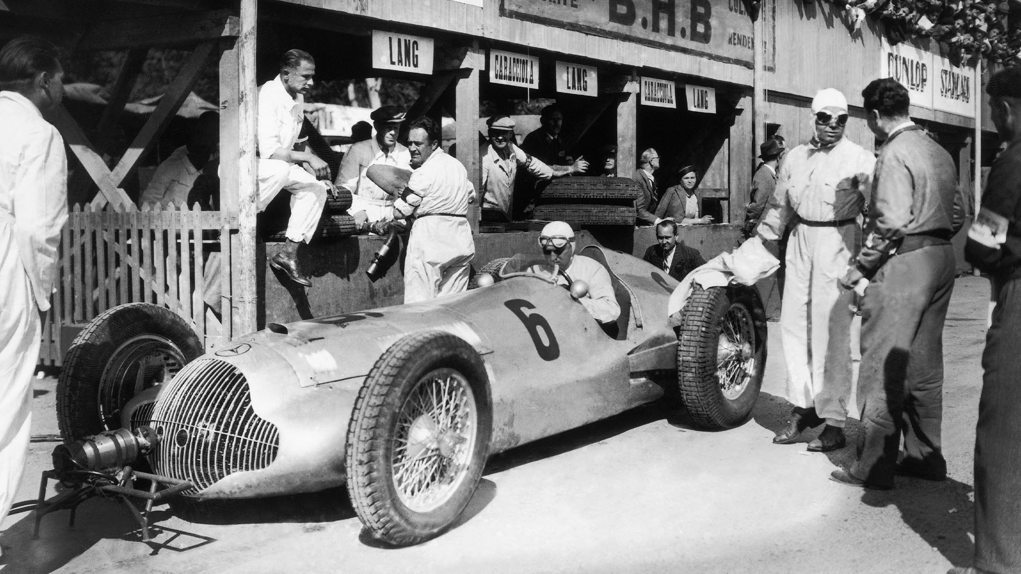 FRANCE - APRIL 11: The German Racecar Driver Rudolf Caracciola In His Mercedes-Benz W154, In The Daimler-Benz Stands At The Grand Prix De Pau On April 11, 1938. (Photo by Keystone-France/Gamma-Keystone via Getty Images)