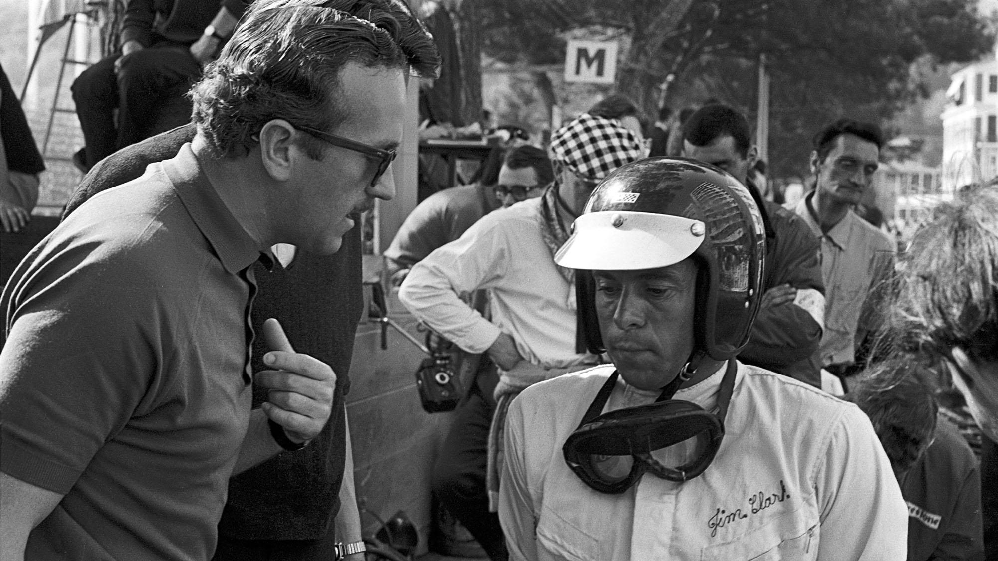 Jim Clark, Colin Chapman, Grand Prix of Monaco, Monaco, 22 May 1966. (Photo by Bernard Cahier/Getty Images)