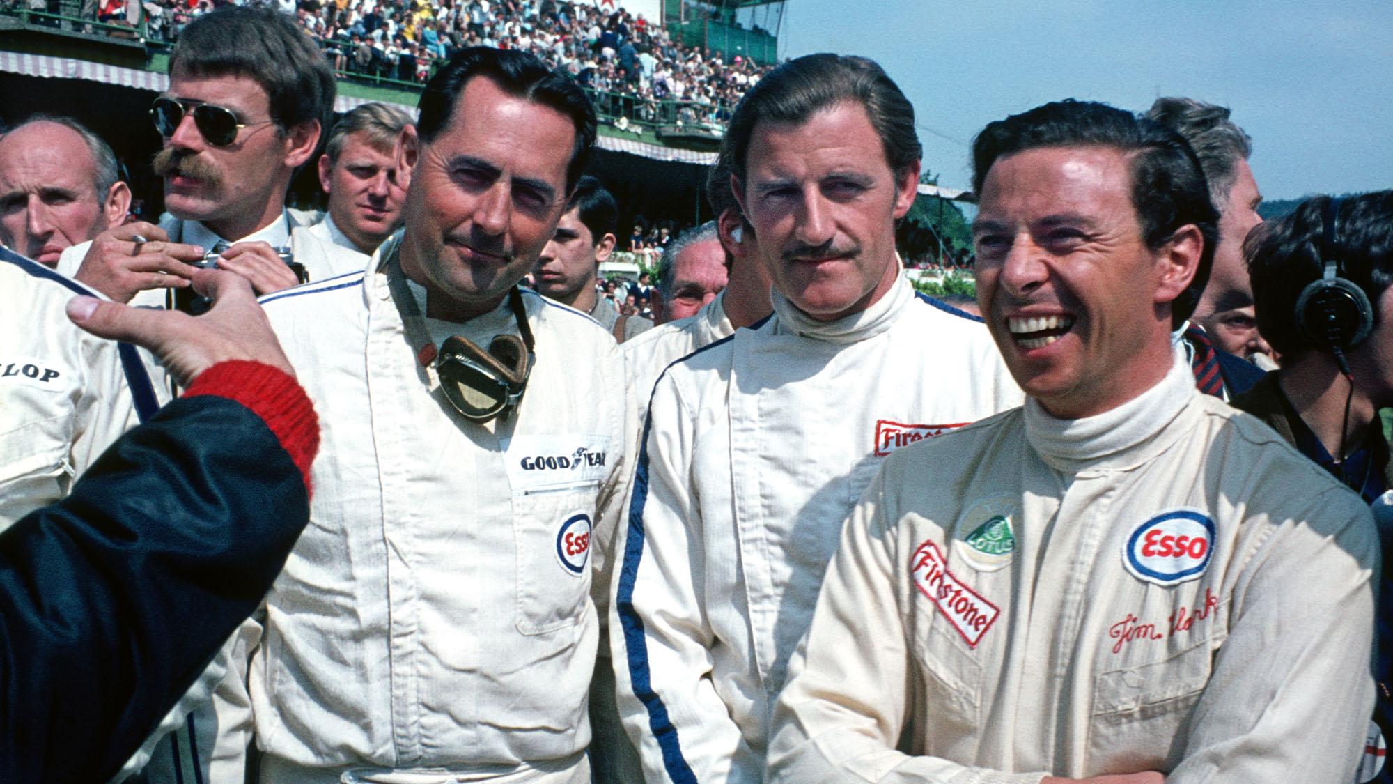 Jack Brabham (Brabham-Repco), Graham Hill () and Jim Clark (borh Lotus-Ford) before the 1967 Belgian Grand Prix in Spa-Francorchamps. Photo: Grand Prix Photo