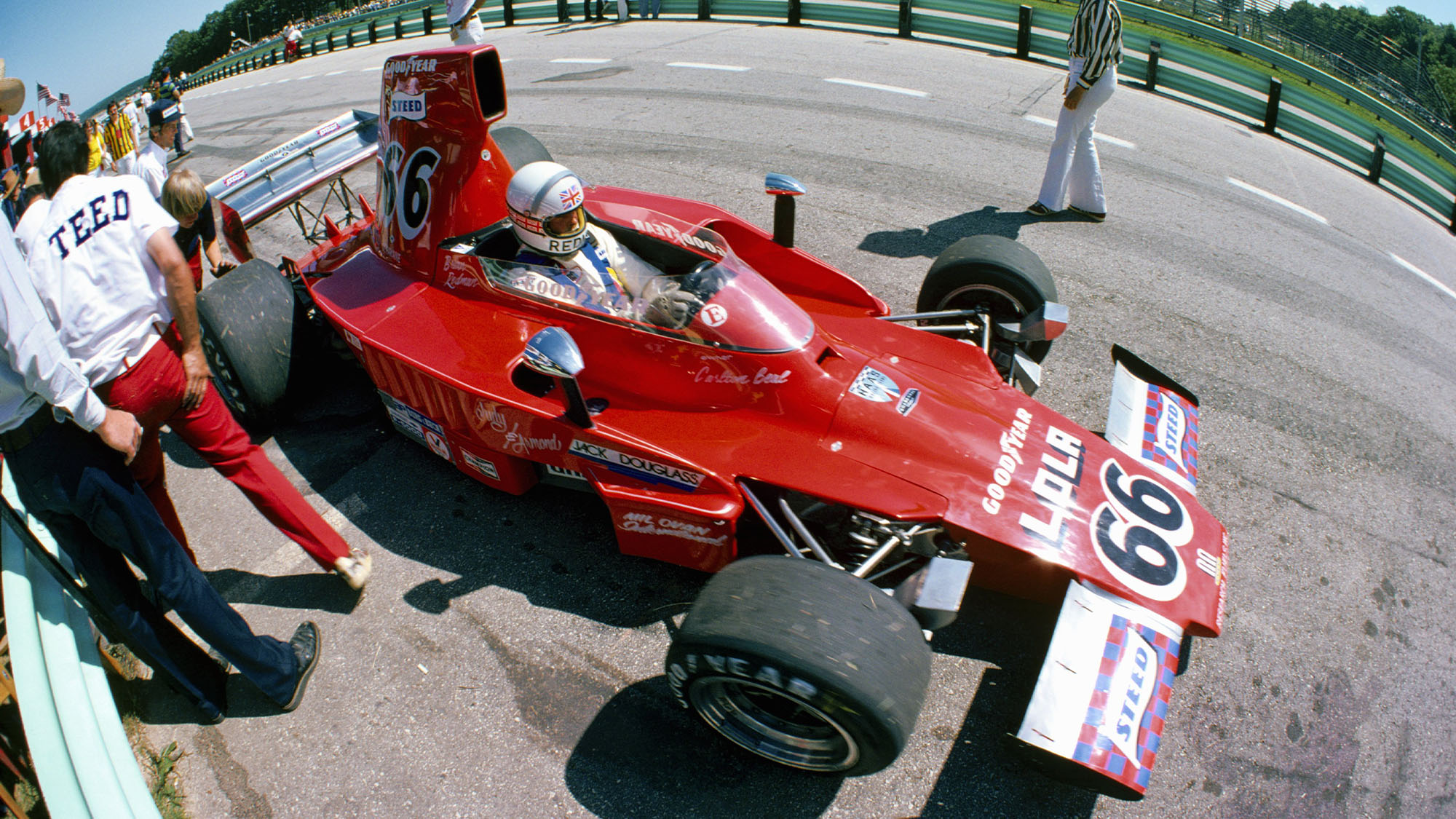 ELKHART LAKE, WI - JULY 28: Brian Redman sits in his Steed Lola T332 about to qualify for the SCCA/USAC F5000 race on July 28, 1974 at Elkhart Lake, Wisconsin. (Photo by Alvis Upitis/Getty Images)