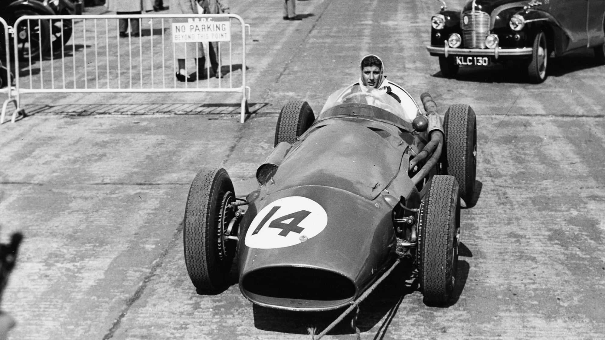 Maria Teresa de Filippis, the first female to compete in Formula One, in her Maserati at the 11th Annual International Trophy Race at Silverstone in 1959