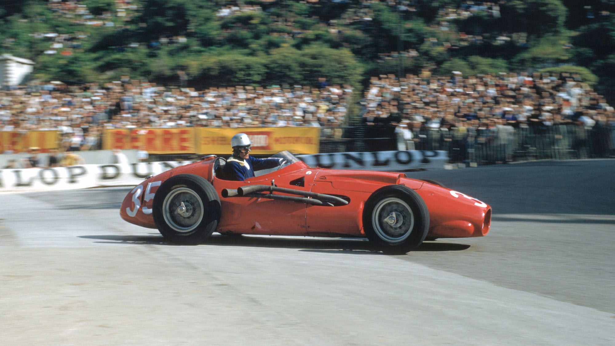 The Monaco Grand Prix; Monte Carlo, May 19, 1957. Harry Schell during practice with the Maserati 250F-T2 with its V-12 engine. Neither he nor Juan Manuel Fangio like the car on the tight Monte Carlo circuit. (Photo by Klemantaski Collection/Getty Images)