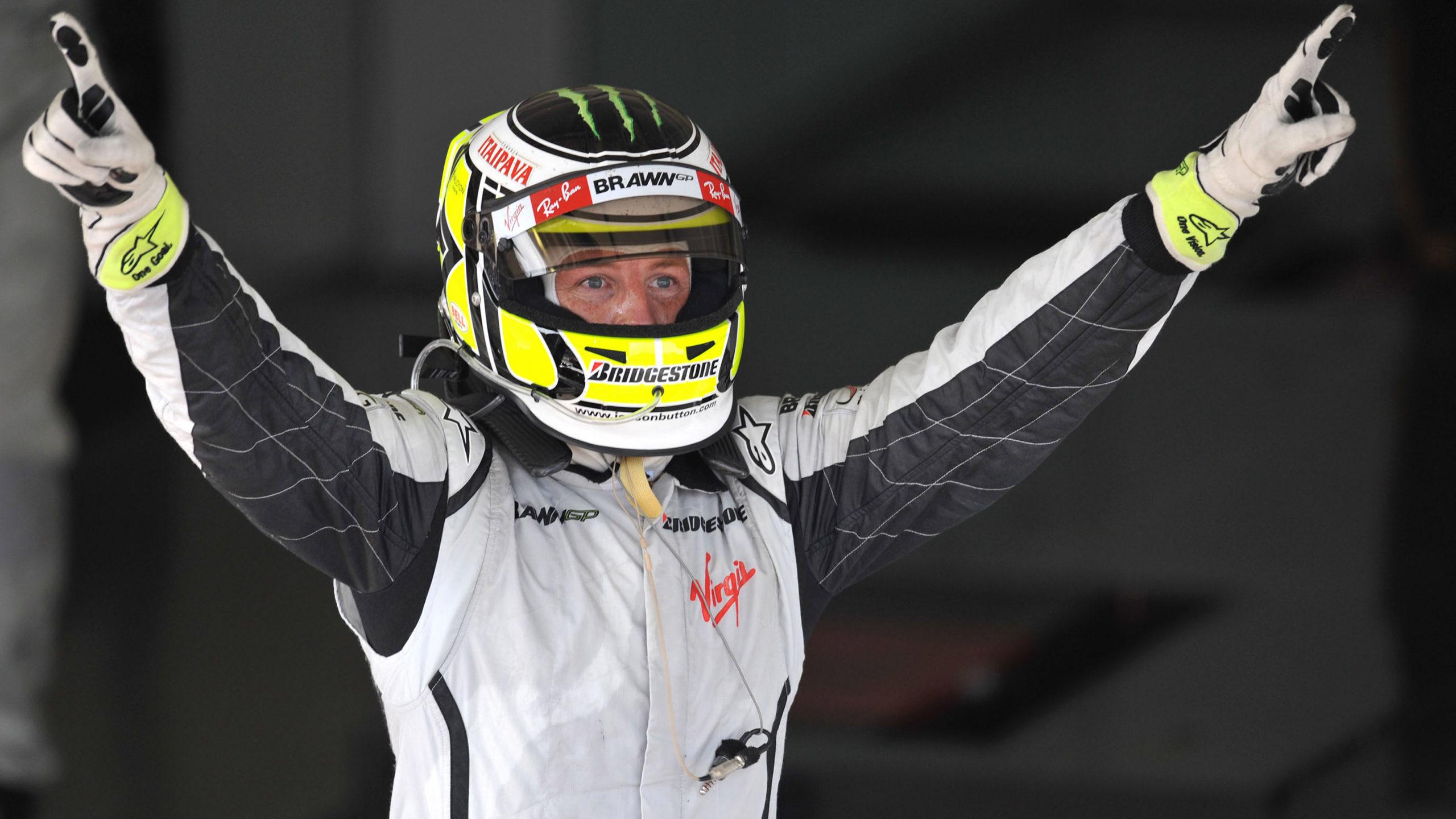 Jenson Button celebrates becoming F1 World champion at the 2009 Brazilian GP