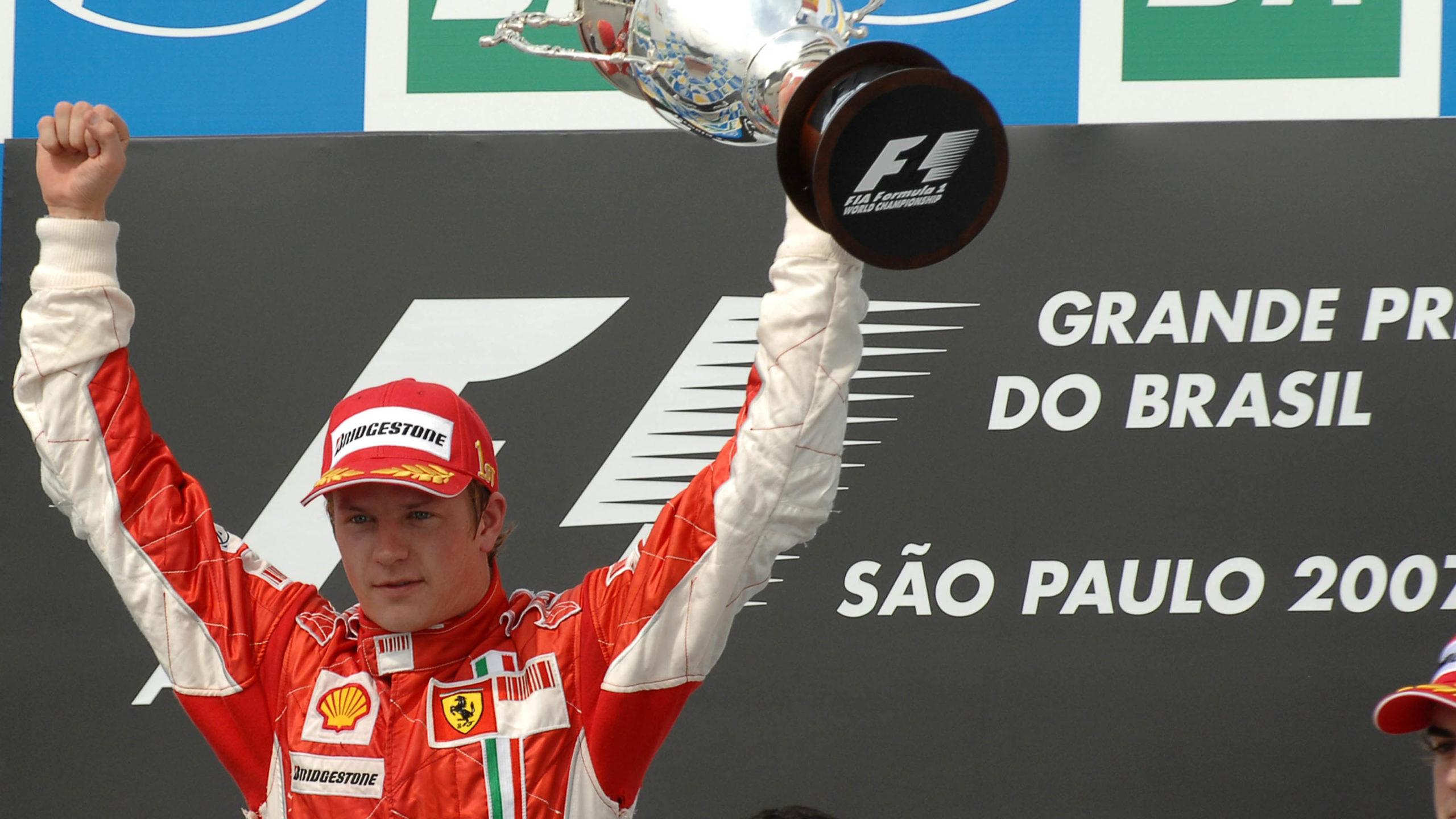 Kimi Raikkonen celebrates becoming world champion at Brazil in 2007