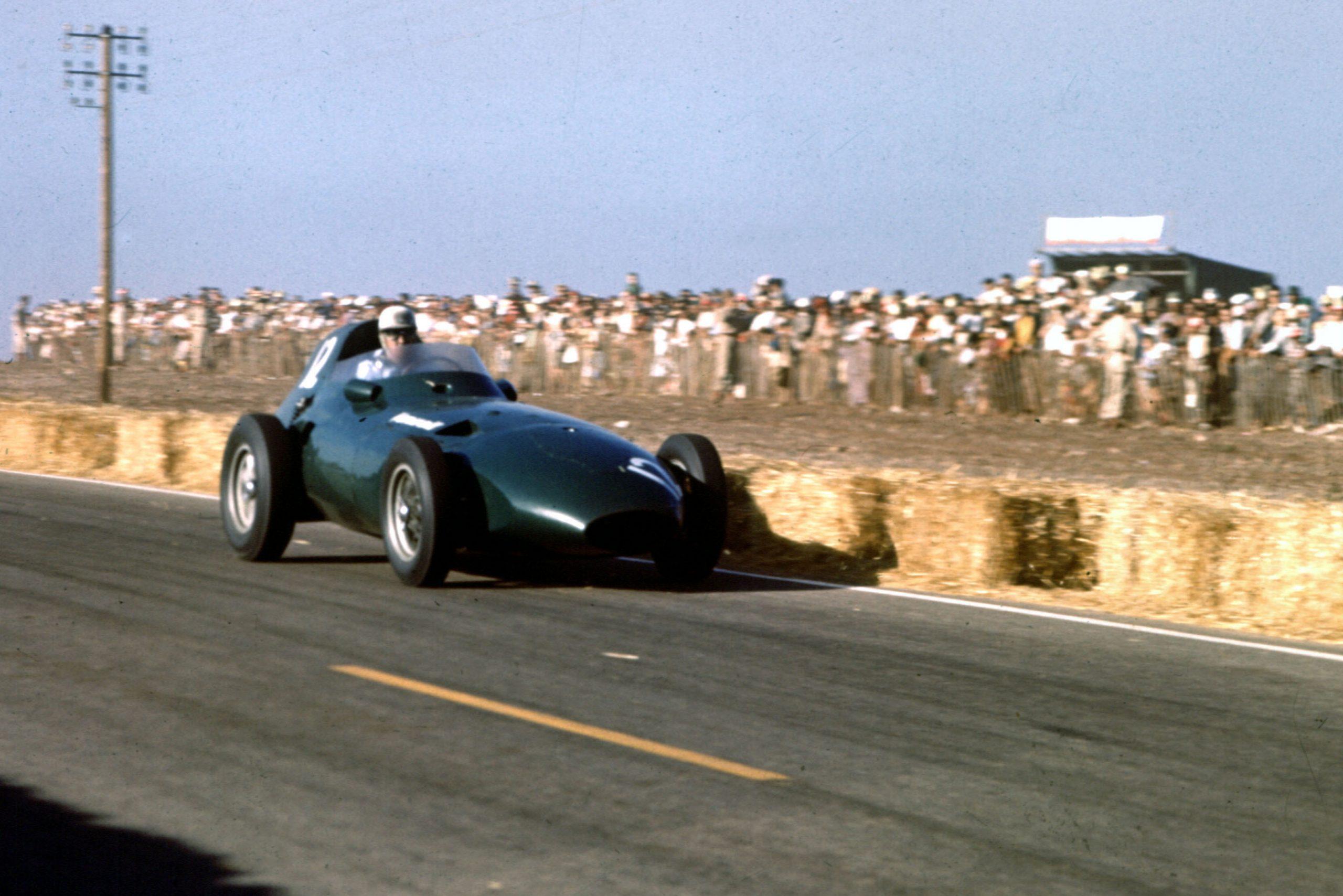 Stuart Lewis-Evans at the wheel of his Vanwall VW4