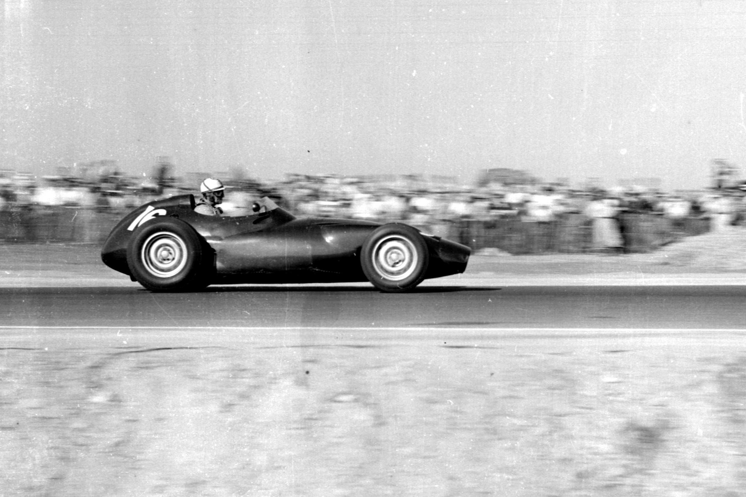 Harry Schell driving his BRM P25 to 5th place.