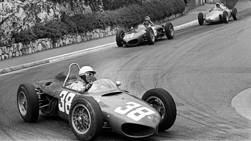 Phil Hill, Richie Ginther, Jo Bonnier at the F1 Grand Prix of Monaco, Circuit de Monaco, 14 May 1961. Driving Ferrari 156 Sharknose and a Porsche 787