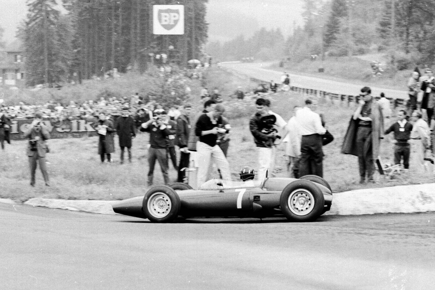 Graham Hill (at the wheel of his BRM P57)