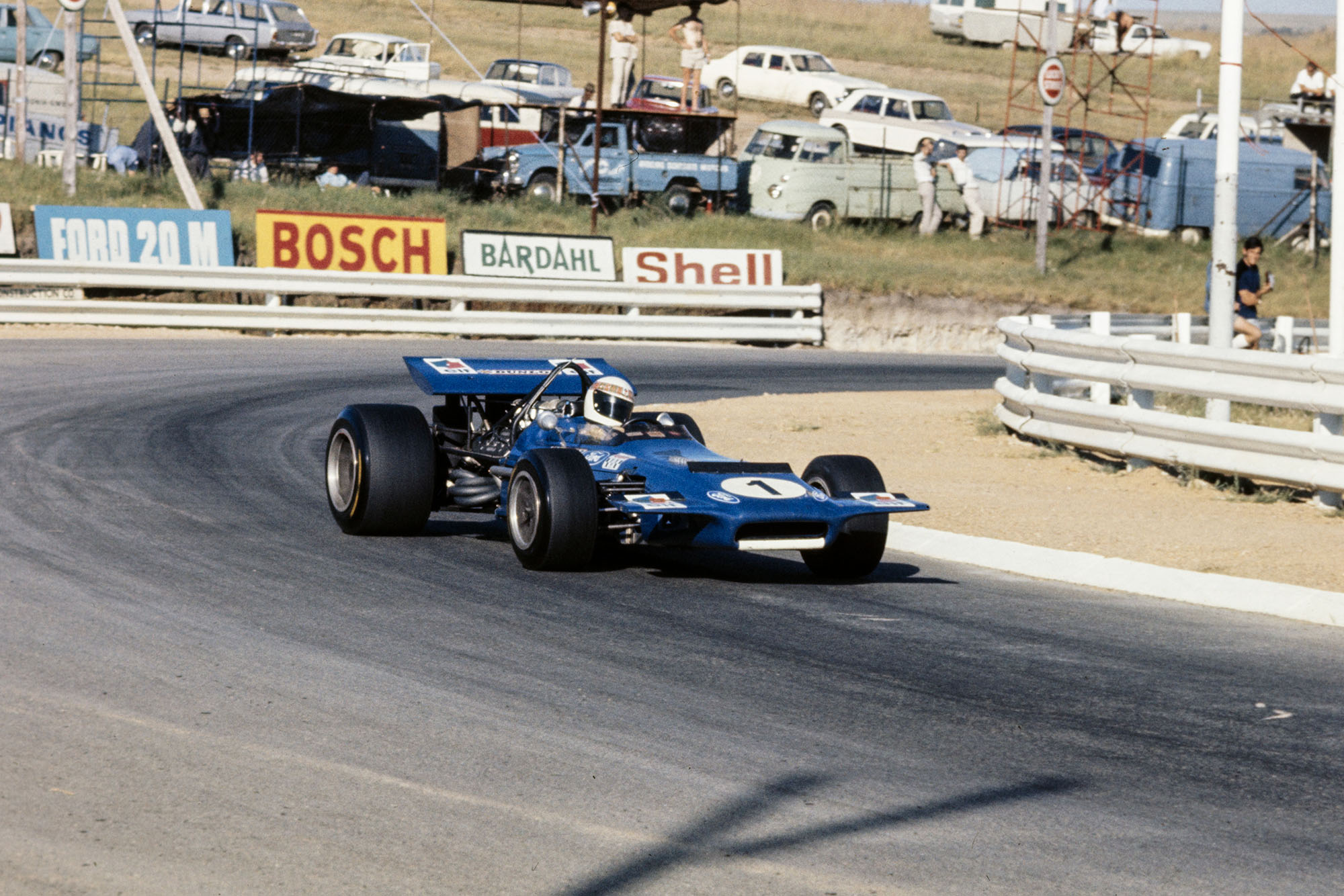 Jackie Stewart driving his Tyrrell March at the 1970 South African Grand Prix.
