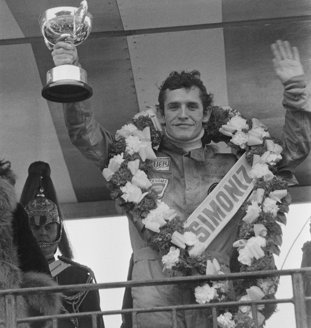 Jacky Ickx holding the winning trophy from the 1974 Race of Champions at Brands Hatch