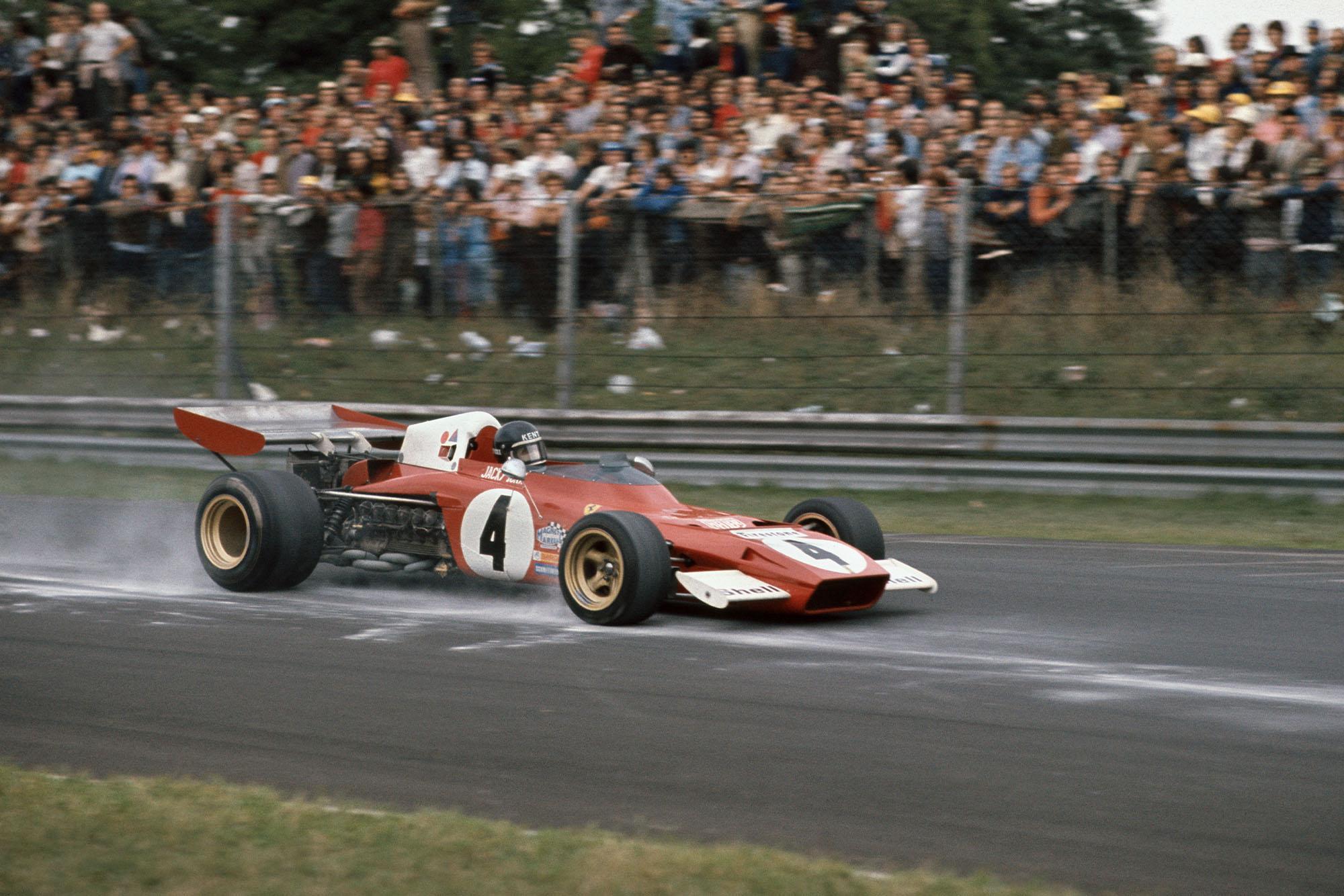 Ferrari's Jacky Ickx brakes for a corner during the 1972 Italian Grand Prix, Monza.