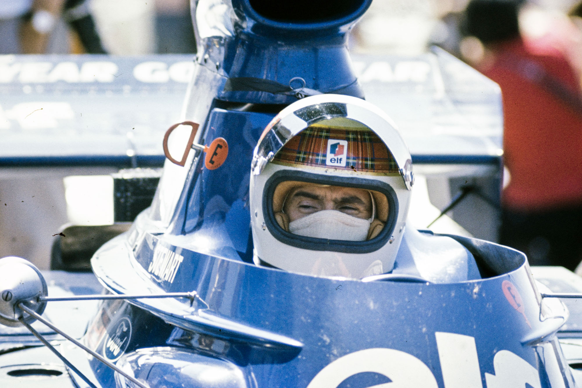 Jackie Stewart sits in his Tyrrell at the 1973 French Grand Prix.
