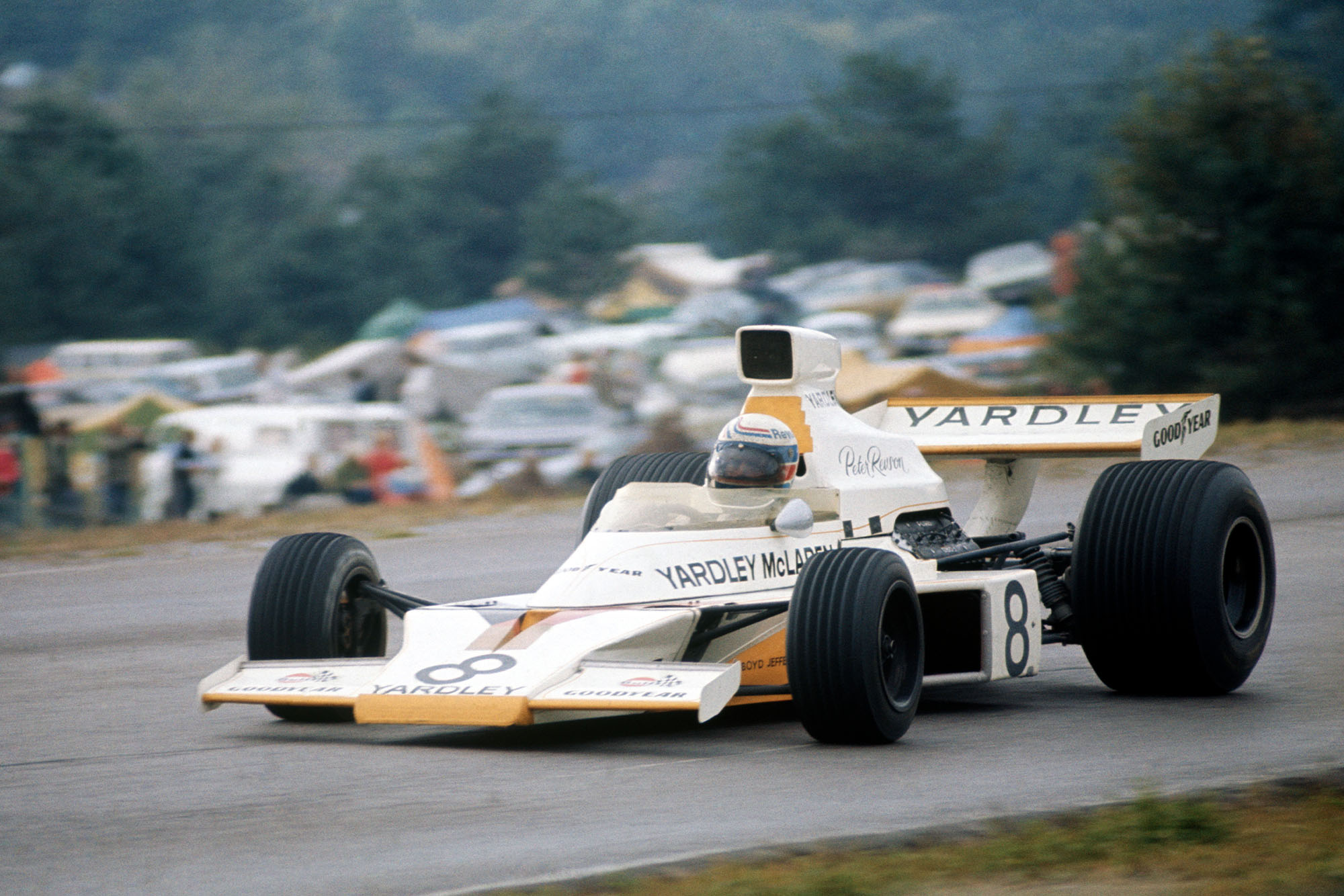 Peter Revson driving at Mosport Park for McLaren during the 1973 United States Grand Prix.