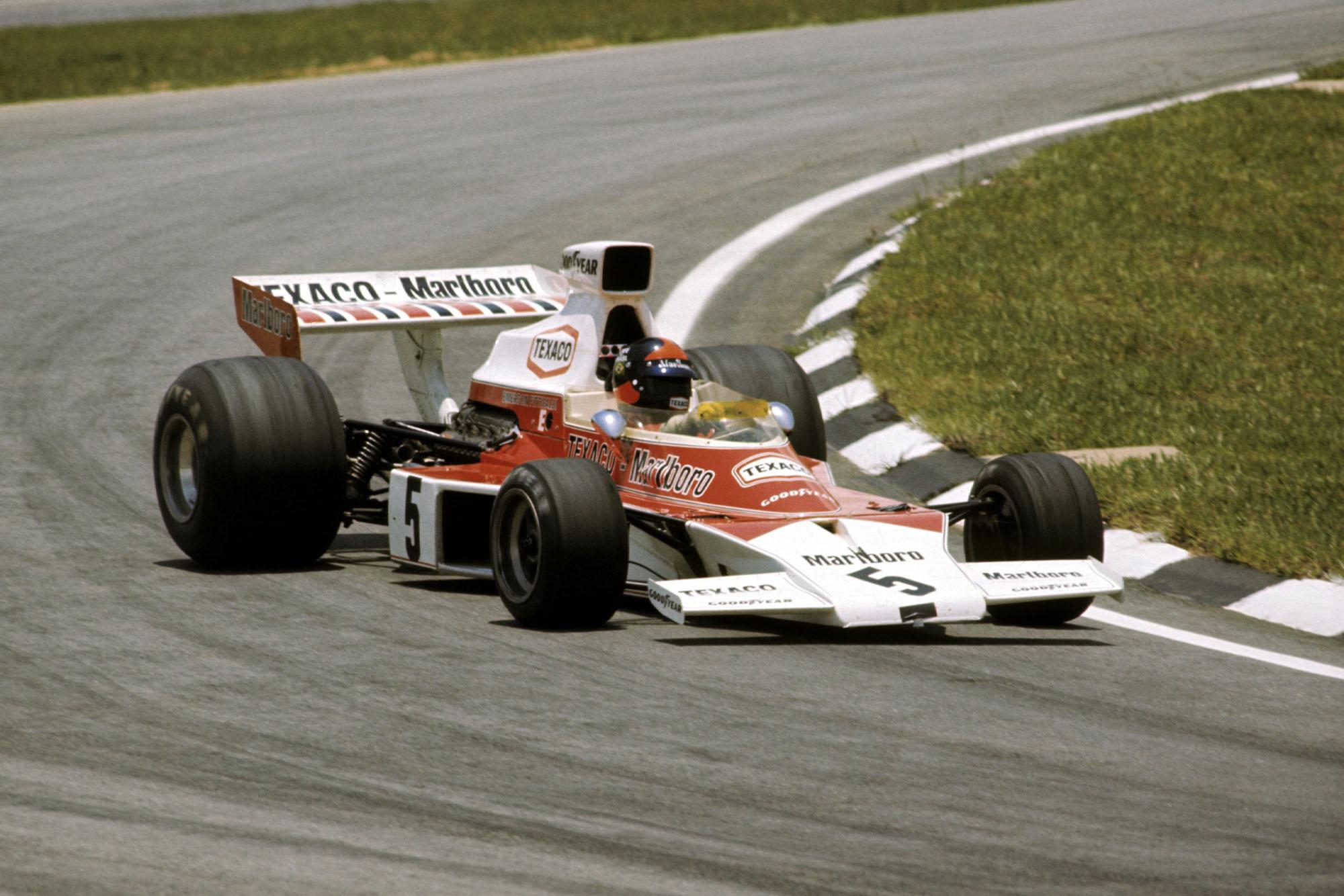 Emerson Fittipaldi driving for McLAre at the 1974 Brazilian Grand Prix, Interlagos.