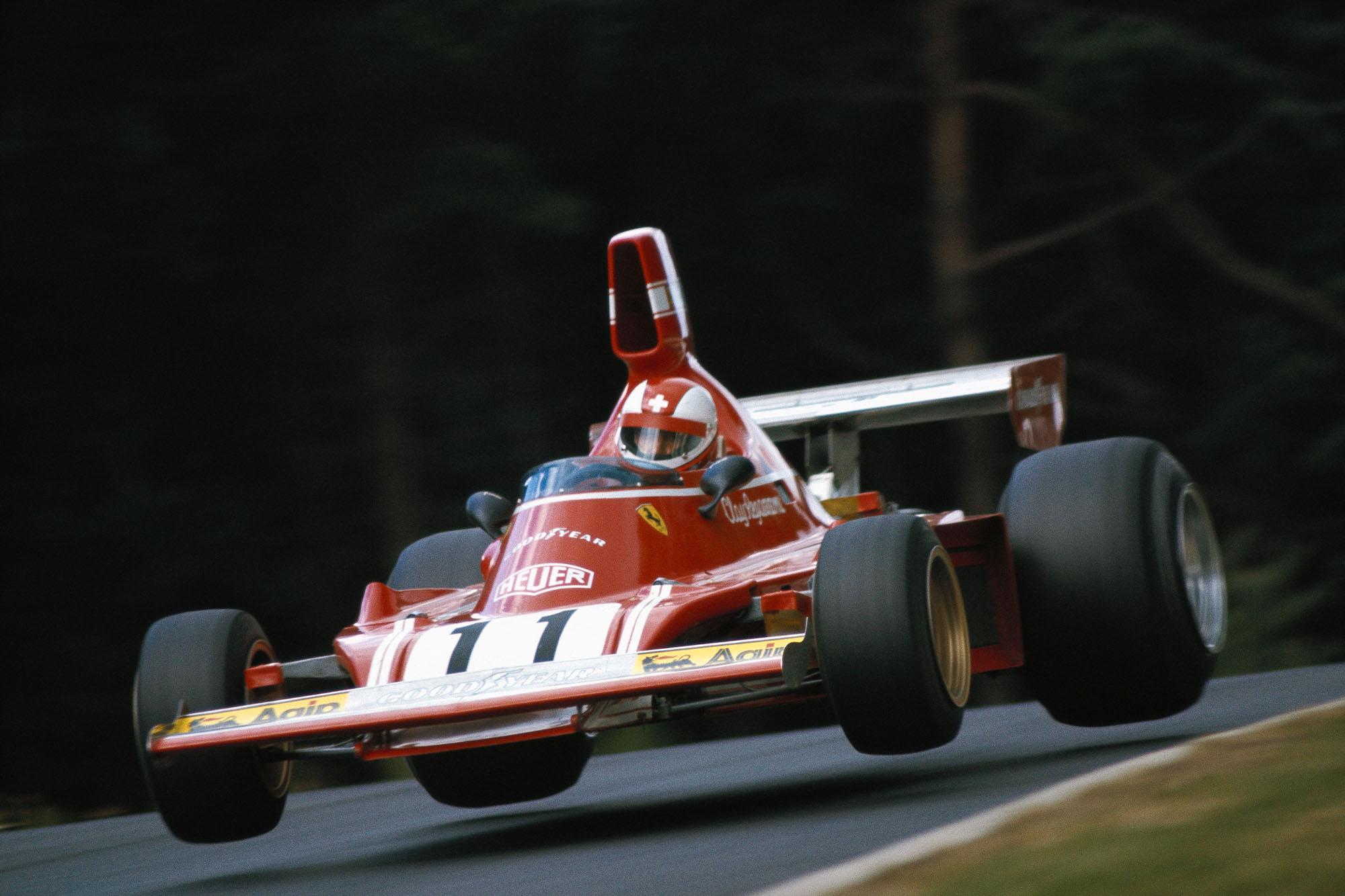Clay Regazzoni's Ferrari takes flight at the 1974 German Grand Prix