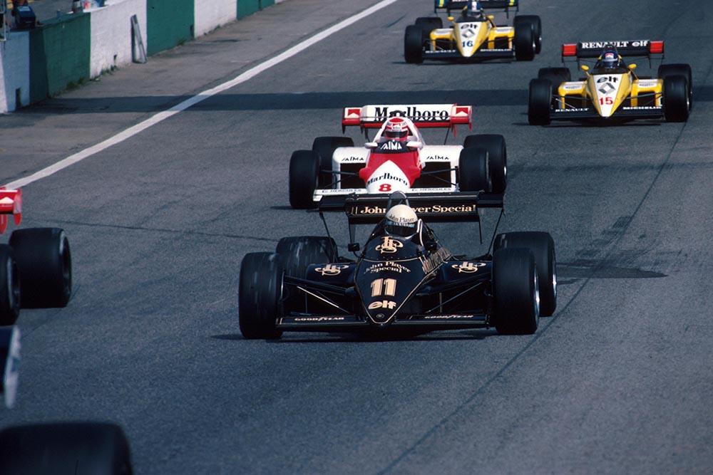 Elio de Angelis, Lotus, followed by Niki Lauda's McLaren, then the two Renaults of Patrick Tambay and Derek Warwick.