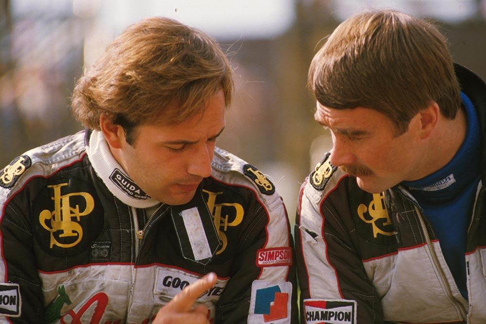 Team mates Elio de Angelis, left, and Nigel Mansell.