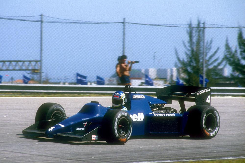 Stefan Johansson drives his Tyrrell 012 Ford.