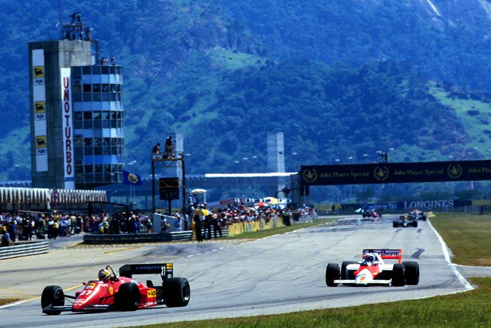 Ferrari's Michele Alboreto leads eventual winner Alain Prost.