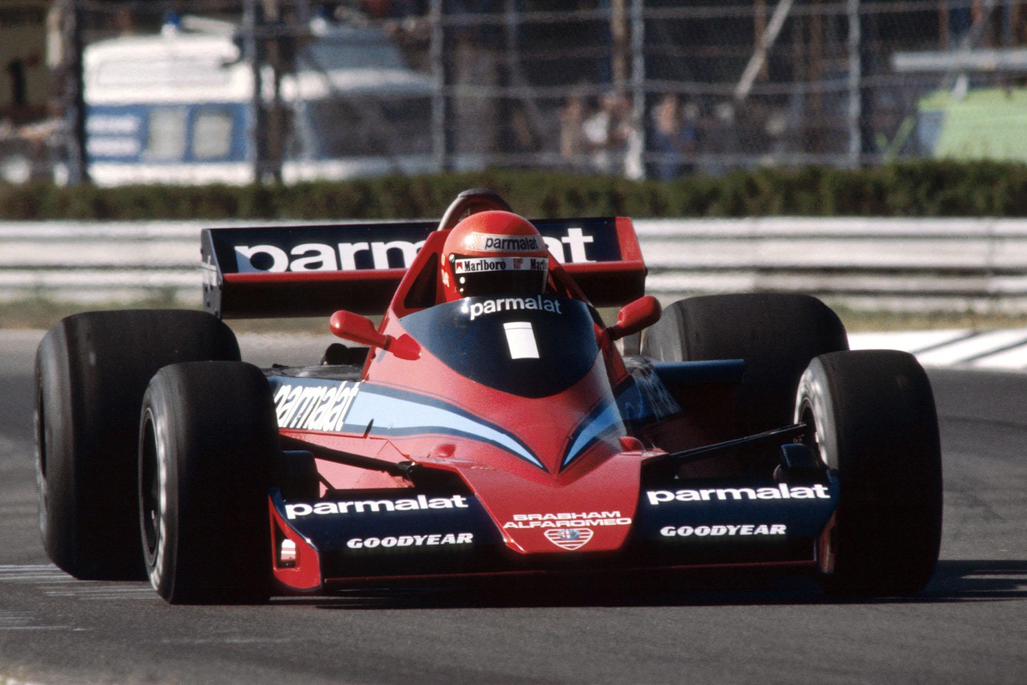 Niki Lauda (Brabham) driving at the 1978 Italian Grand Prix, Monza.