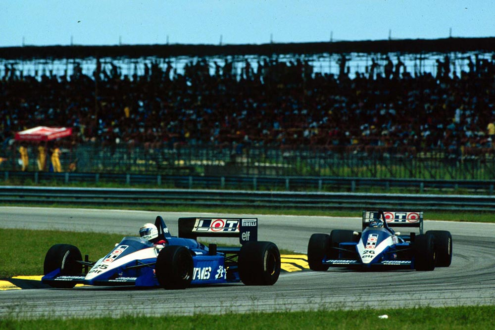 Rene Arnoux leads Ligier teamate Jacques Laffite.
