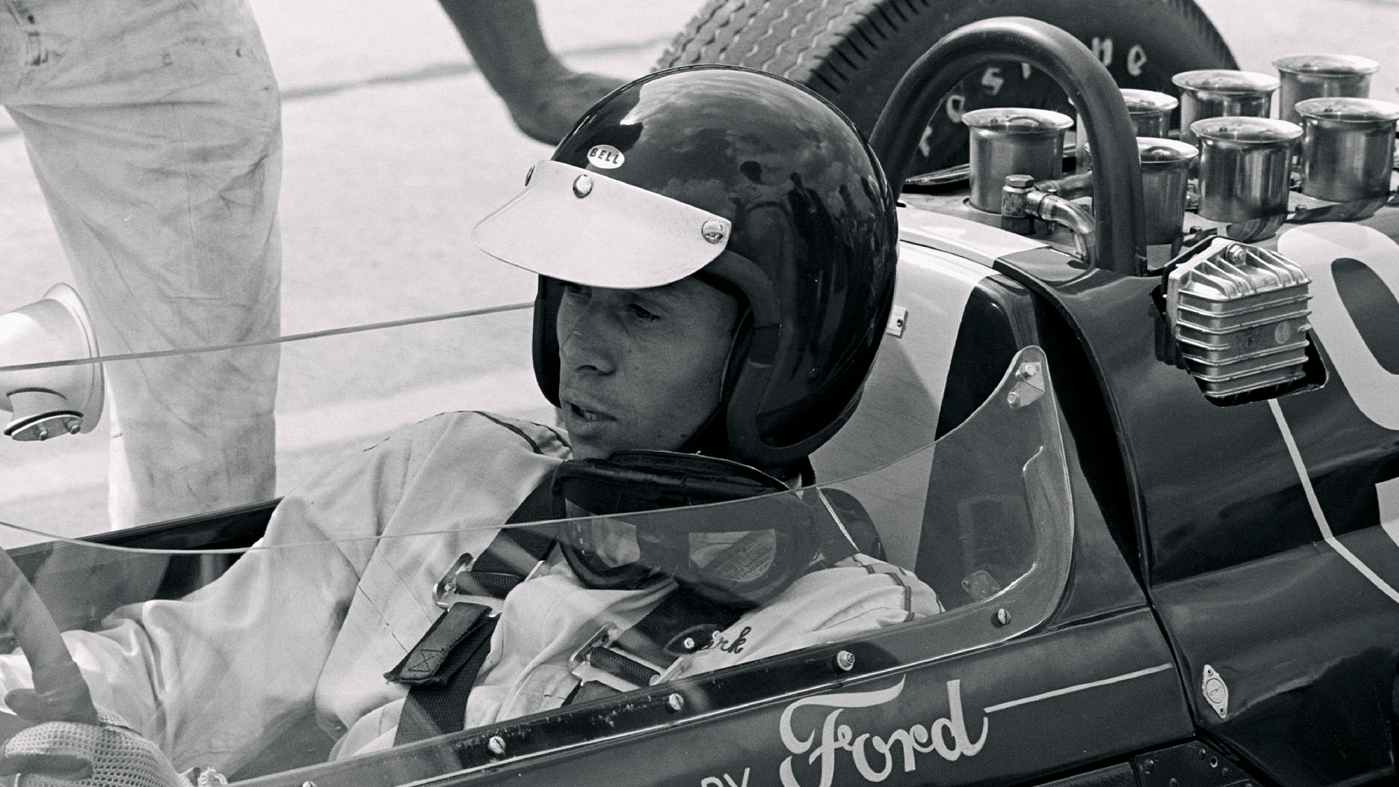 UNITED STATES - JUNE 03: 1963 Indianapolis 500. Lotus driver Jim Clark sits in his Ford powered Lotus 29. Clark will go on to finish the race in second place, Clark will also go to win his first Formula One World Championship later in the year in a Lotus. (Photo by Bob D'Olivo/The Enthusiast Network via Getty Images/Getty Images)