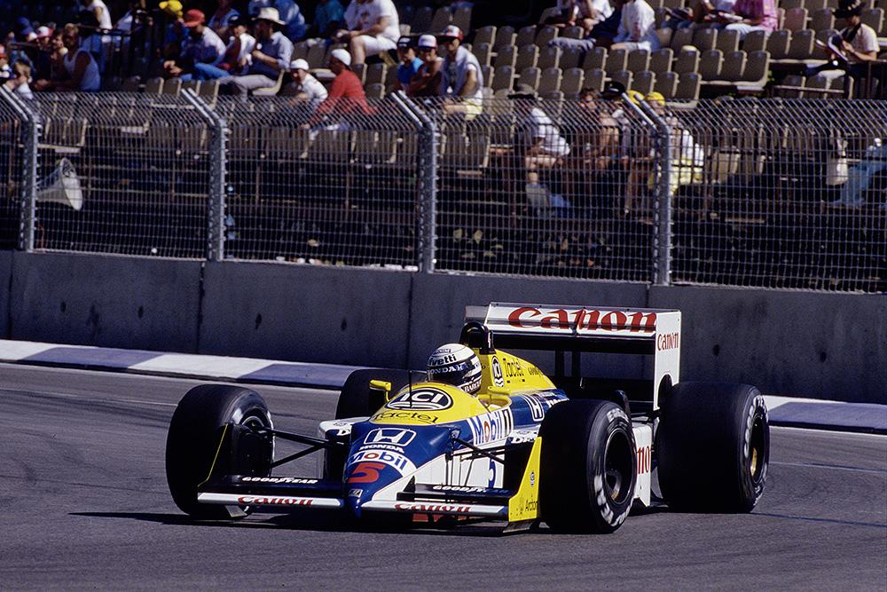 Riccardo Patrese at the wheel of his Williams FW11B Honda.
