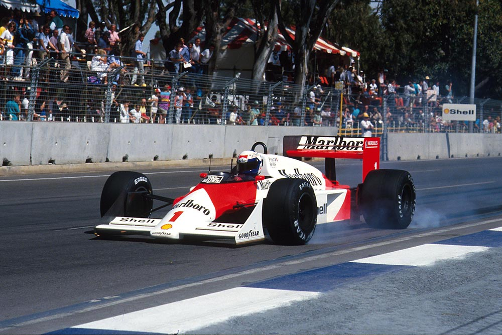 Alain Prost locks the wheels of his McLaren TAG MP4/3.