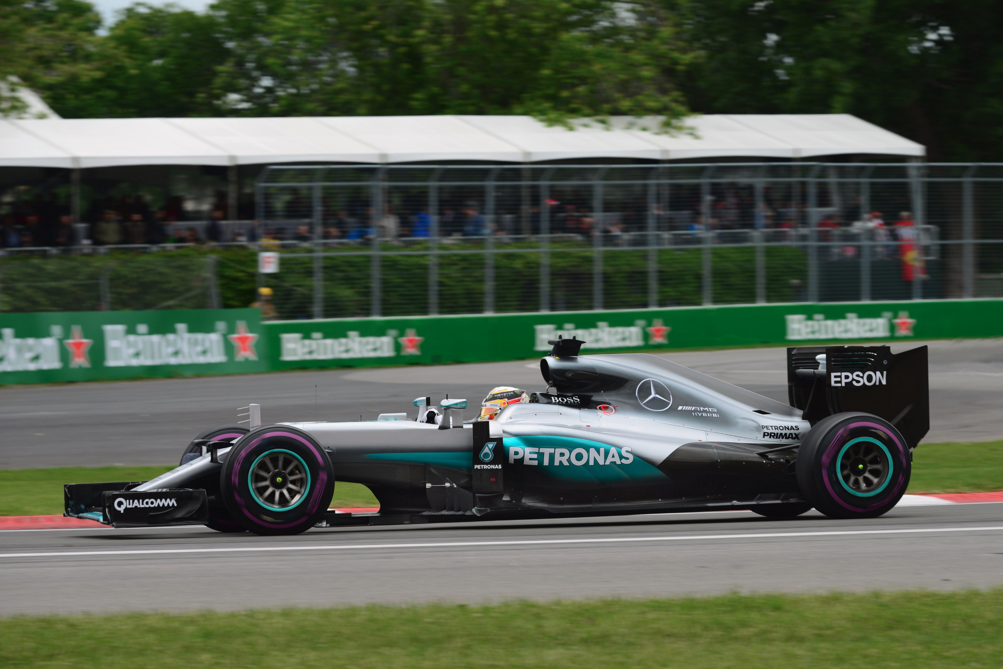 Lewis Hamilton in the lead of the Canadian GP