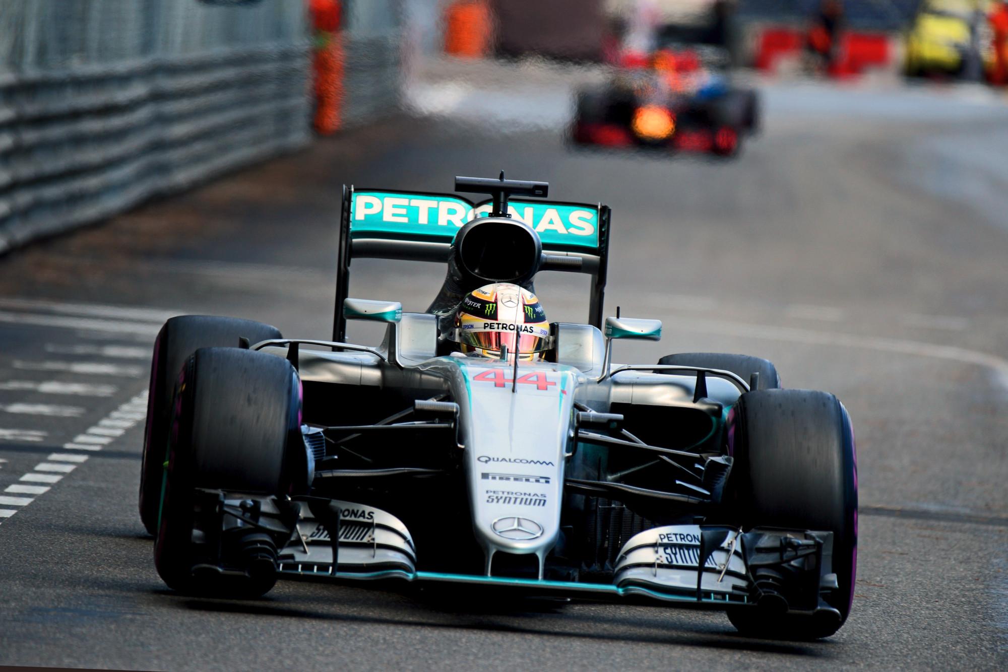 Lewis Hamilton leading the Monaco Grand Prix