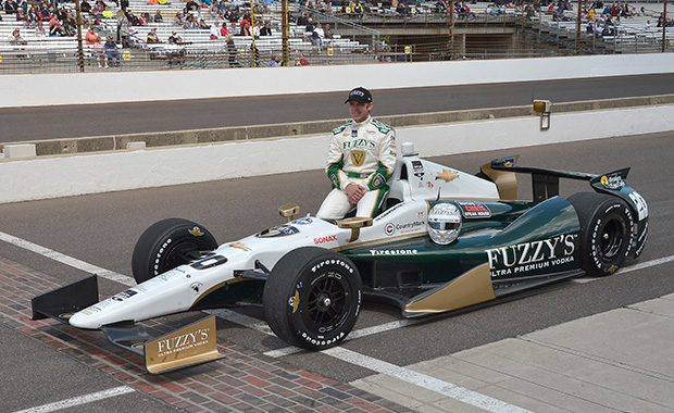 Carpenter on pole at Indy