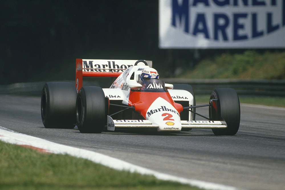 Alain Prost in his McLaren MP4/2B-TAG Porsche.