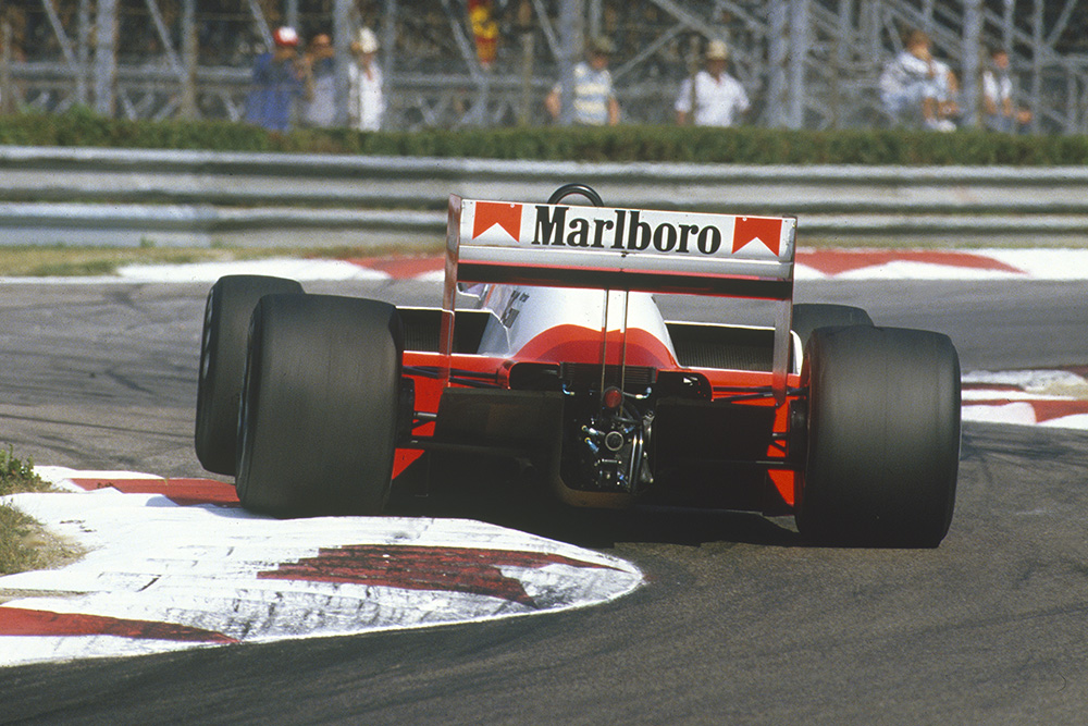 Alain Prost driving a McLaren MP4/2B-TAG Porsche.