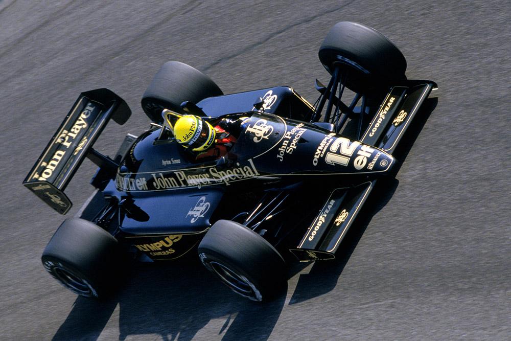 Ayrton Senna in his Lotus 97T-Renault at Parabolica.