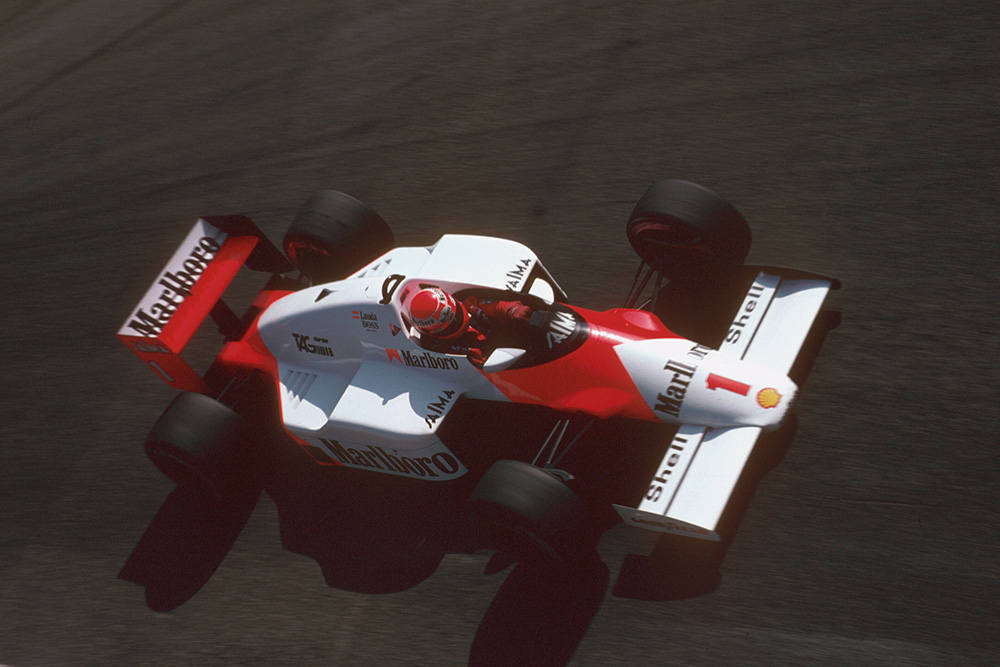 Niki Lauda drivings his McLaren MP4/2B TAG Porsche.