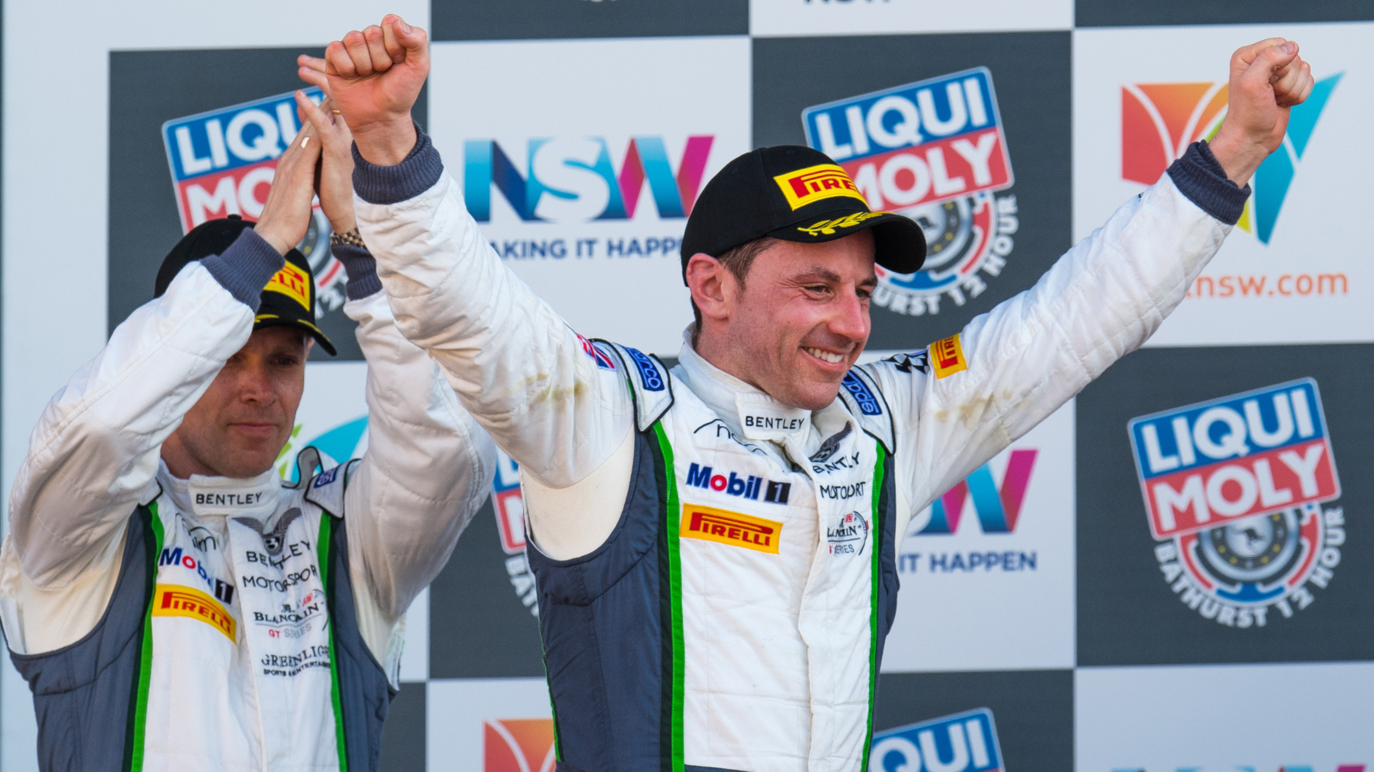 Guy Smith and Steven Kane on the posium at the 2017 Bathurst 12 Hours