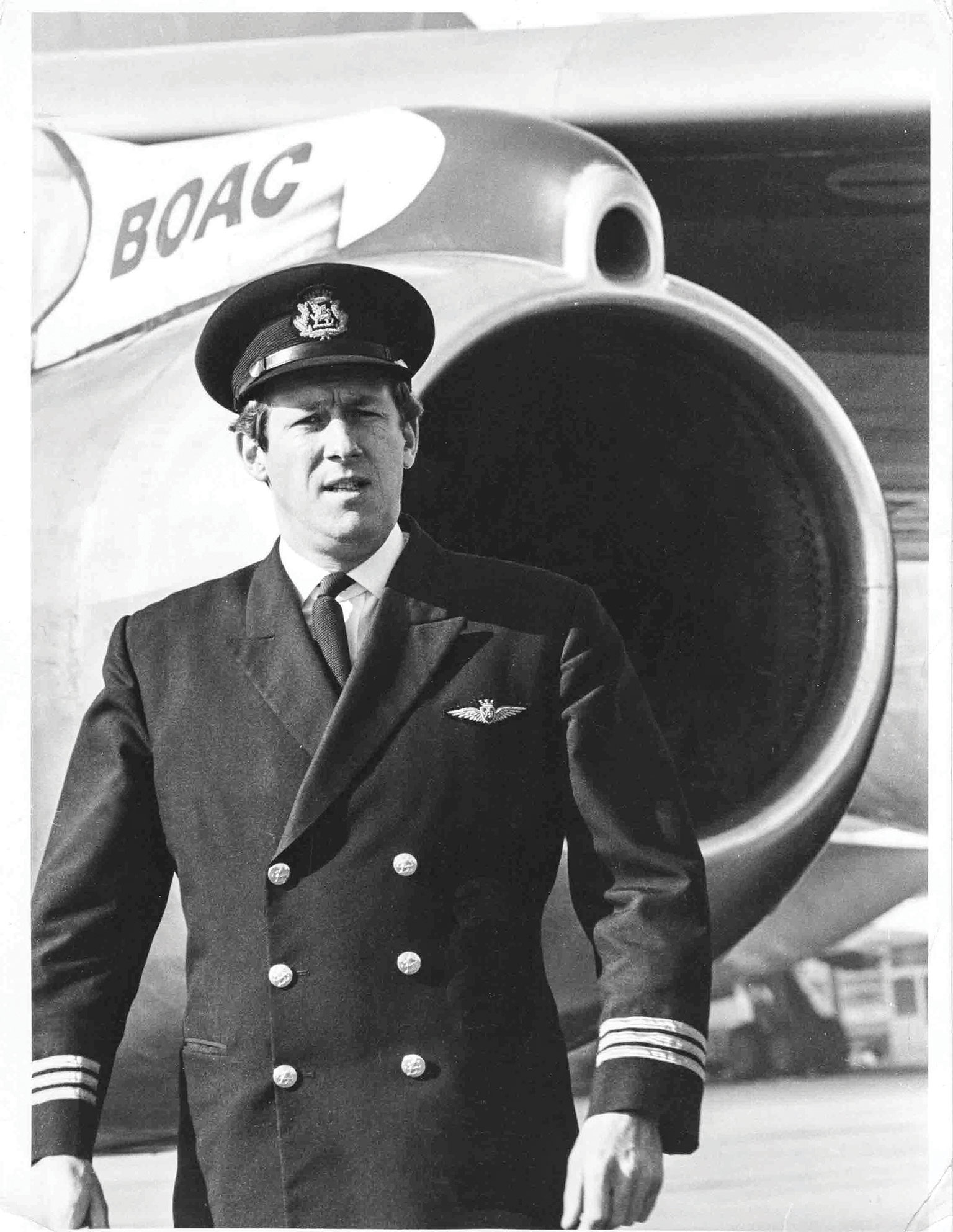 HD-BOAC—As-Senior-First-Officer-in-front-of-B707-436-R-R-Conway-engine-circa-1969—2nov17