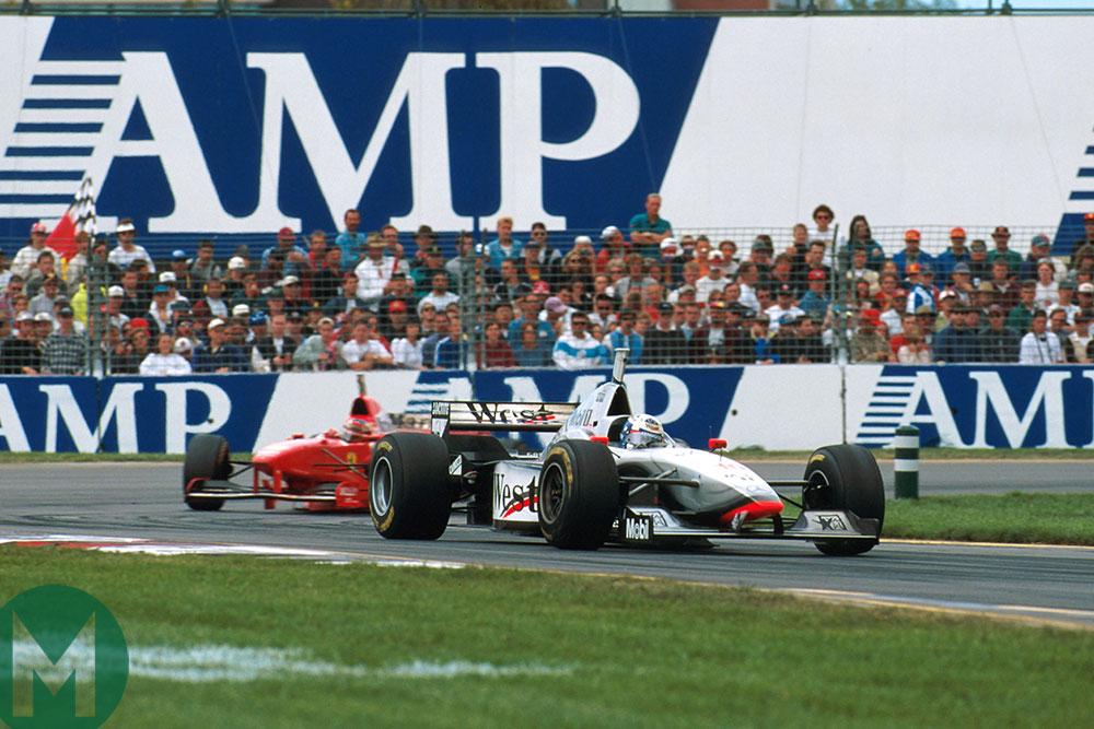 David Coulthard's McLaren and Michael Schumacher's Ferrari
