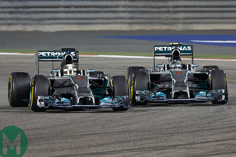 Lewis Hamilton and Mercedes team-mate Nico Rosberg side by side in the 2014 Bahrain Grand Prix
