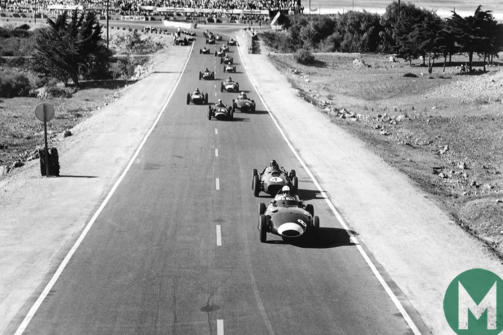 Stirling Moss leads Phill Hill at the start of the 1958 Moroccan Grand Prix