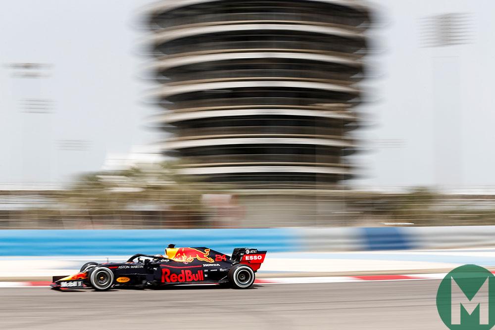 Dan Ticktum in a Red Bull in the 2019 Bahrain F1 test
