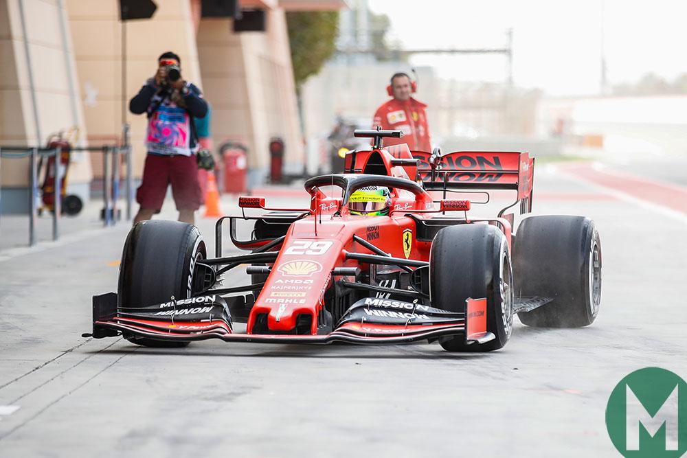 Mick Schumacher in a Ferrari in 2019's Bahrain F1 test