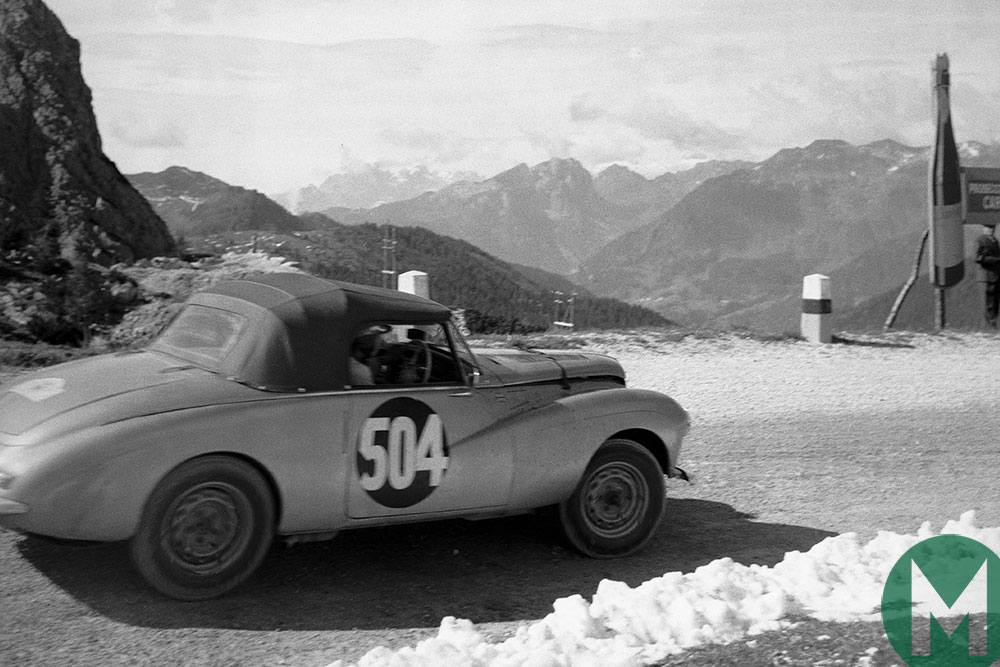 Peter Collins in a Sunbeam Alpine in the 1954 Alpine Rally