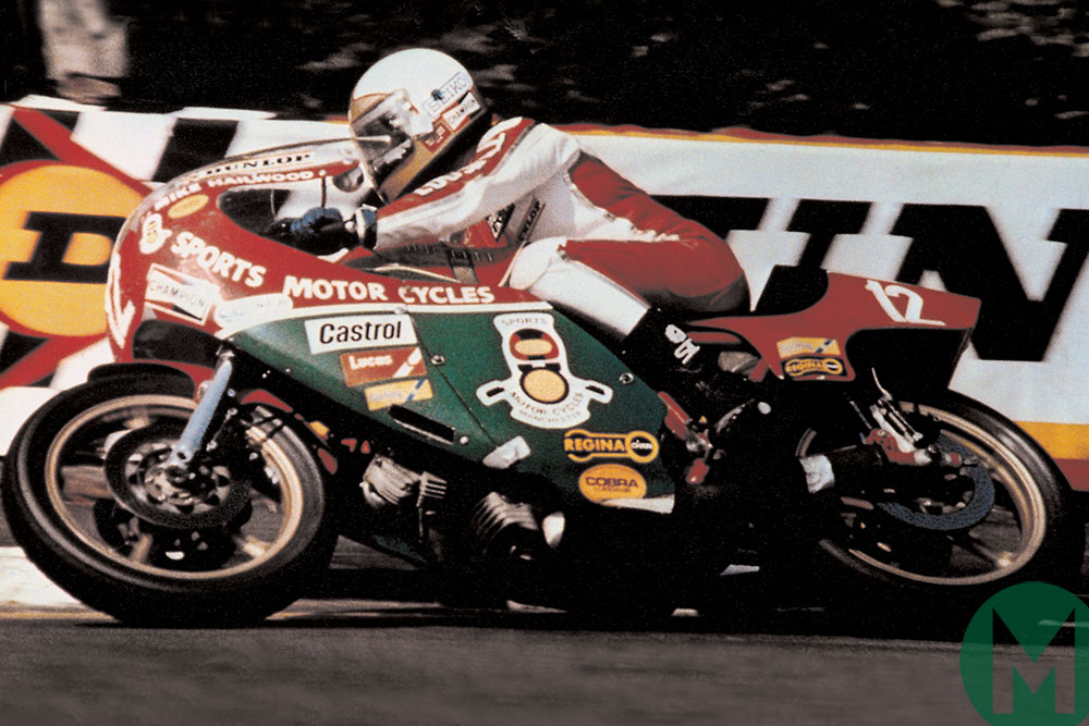 Mike Hailwood on the way to victory in the 1978 Isle of Man TT