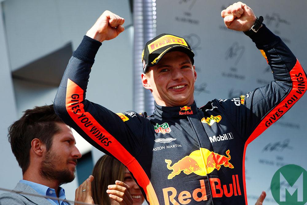 Max Verstappen celebrates on the podium after winning the 2018 Austrian Grand Prix